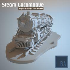 3d model steam locomotive train railway engine