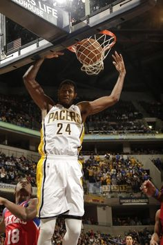 9e77fb77324a Paul George dunks on the Sixers. Indiana Nba