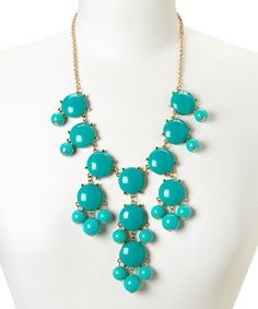 Love this Gold & Dark Turquoise Bubble Bib Necklace by Polka Dotsy on #zulily! #zulilyfinds