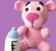 Baby Pink Panther Loom Knitting Patterns, Amigurumi Patterns, Crochet Patterns, Cute Crochet, Crochet Toys, Crochet Baby, Pink Panter, Crochet Animals, Pet Toys