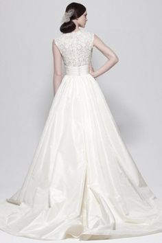 Taffeta Elegant & Luxurious Chapel Train V-Neck Empire Waist Wedding Dress - 2