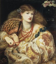 """model Alexa Wilding : """"Monna Vanna""""  1866 , by Dante Gabriel Rossetti , oil on canvas,  88.9 × 86.4 cm , Tate Britain, London .Alexa Wilding (1847-1884) dead ,aged 37 , for peritonitis but sixteen months earlier she had been diagnosed with a splenic tumor ."""