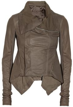 Rick Owens Naska Leather Biker Jacket in Gray