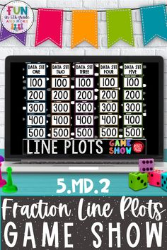Take math review days from dull to dazzling with this Jeopardy-style classroom game! This highly engaging Line Plots Game Show PowerPoint makes the skill of working with line plots something that students are EXCITED to do! My class CHEERS when they see this game. Students will work hard to get a point. It's a win-win for you and your students: kids will have FUN and be challenged to use higher-level thinking skills as they move their way through the scaffolded questions and categories!
