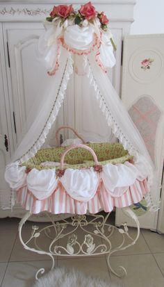 Marie Antoinette Bassinet for little girl's nursery. So Shabby Sweet.