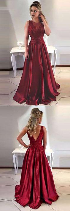 2018 Prom Dresses #2018PromDresses, Lace Prom Dresses #LacePromDresses, Prom Dresses A-Line #PromDressesA-Line, Prom Dresses Maroon #PromDressesMaroon