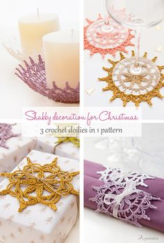 Shabby decoration for Christmas, 3 crochet doilies in 1 pattern