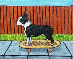 Boston Terrier signed dog art PRINT skate boarding modern impressionism gift new by SCHMETZPETZ on Etsy https://www.etsy.com/listing/189688047/boston-terrier-signed-dog-art-print