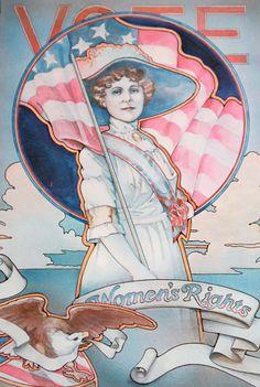 Vintage Political Print - Vote Women's Rights - Suffrage Patriotic Feminism Americaa Politics Poster Art Nouveau. $25.00, via Etsy.
