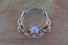 16 Gauge Purple Opal Daith Hoop Ring Daith Clicker Septum Hoop