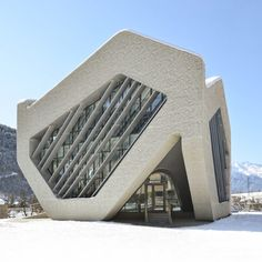 A civic centre composed of textured concrete hexagons