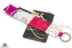 Patchwork Schlüsselanhänger von #Lieblingsmanufaktur: pink, weiß