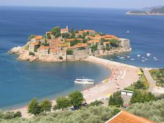 A view of Sveti Stefan located at the Montenegrian seaside.