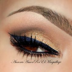 Gold with Navy Blue eyeliner