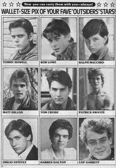 My generation doesn't even bother to have these. You cannot judge me that I have six of each guy from the Outsiders in my wallet XD