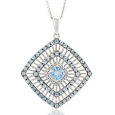 Genuine Blue Topaz & Diamond Pendant in Solid Sterling Silver - $50