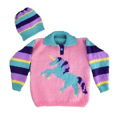 A knitting pattern for an Aran/Worsted Sweater and Hat featuring a Unicorn Pattern is for ages 2 to 12 years. The sweater and hat are easy to knit in Baby Knitting Patterns, Unicorn Knitting Pattern, Baby Sweater Knitting Pattern, Kids Knitting, Pdf Patterns, Crochet Patterns, Baby Sweaters, Girls Sweaters, Dinosaur Sweater