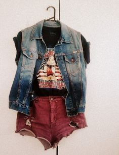Vintage Mickey Mouse graphic tee with rolled sleeves, denim vest and distressed high rise red shorts!