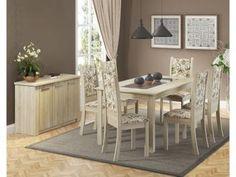 Conjunto de Mesa com 6 Cadeiras Estofadas - Madesa Amanda