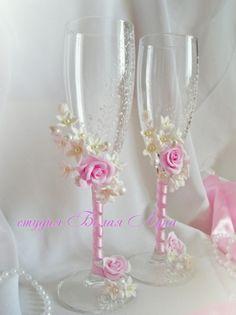 свадебные бокалы и шампанское - свадебная студия белая луна