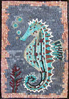 AN108 Marble Mosaic Sea Horse Decorative Stone Tile