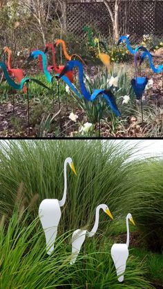 garden decor videos Swirling birds for the garden, yard, beach, etc! One large swirling bird and two white spinning birdies.They add whimsy to the garden with the slightest garden breezes. Garden Crafts, Garden Projects, Yard Art Crafts, Recycled Garden Art, Diy Projects, Diy Crafts, Jardin Decor, Garden Ornaments, Garden Paths