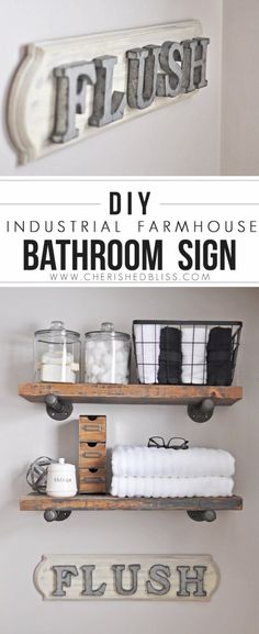 DIY Bathroom Decor Ideas - Industrial Farmhouse Bathroom Sign- Cool Do It…