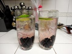 Blackberry Lime Wine Spritzers. One cup of white wine, 1/2 cup of club soda/spritzer, a lime slice, and crushed blackberries. Light and refreshing!