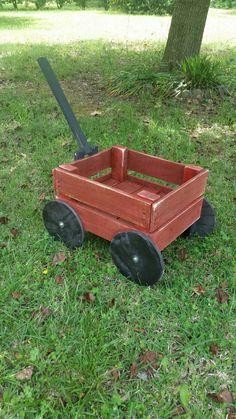Rustic Wood Wagon- Distressed Red w Black, Photography Prop, Garden/Yard Decor