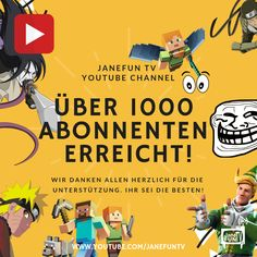 Wir haben über 1000 Abonnenten auf YouTube erreicht! Wir danken allen Herzlich für diese Unterstützung! Weiter so!  #naruto #narutoshippuden #fortnite #minecraft #trollbeads #likeme #teilen #following #follow #youtube #youtubechannel #youtubevideos #youtubetips #abonniere #lustig #anime #blogging #blogger #blog #fame #1000 #beste Naruto Shippuden, Youtube Tips, Channel, Minecraft, Comic Books, Comics, Tv, Memes, Cover