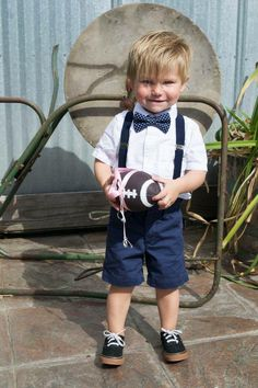 Ring bearer and our football ring pillow || Radford Wedding 7.25.15