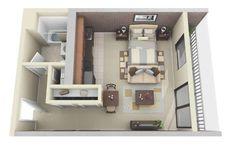 modèle de studio avec balcon et plan d'aménagement 3d