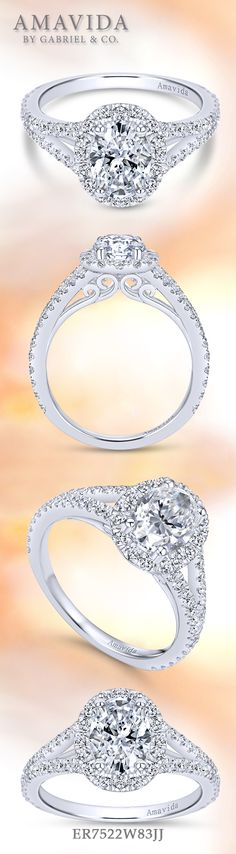 Amavida by Gabriel & Co. - Voted #1 Most Preferred Bridal Brand.   A twisted diamond band wraps into a regal halo oval cut center stone in this 18k white gold engagement ring.