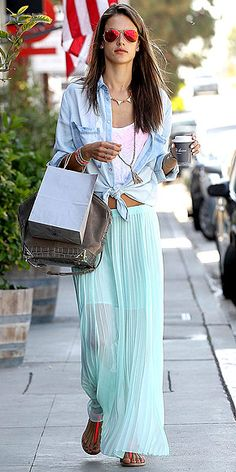 Ready for some amazing news? The model's pleated seafoam maxi is on sale for $55.60 at Victoria's Secret. We're taking ...