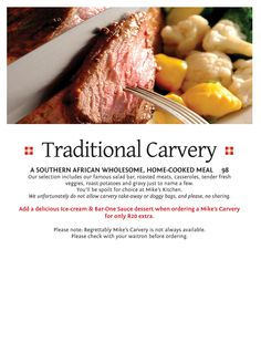 Traditional Carvery - Halaal Menu - A South African wholesome, home-cooked meal. Roasted Meat, Salad Bar, Gravy, Steak, Veggies, Menu, African, Fresh, Traditional