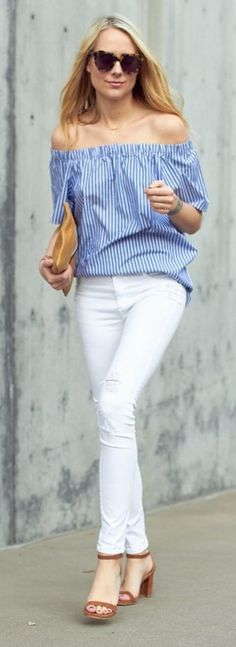 Blue Stripe Off The Shoulder Top + White Ripped Jeans                                                                             Source
