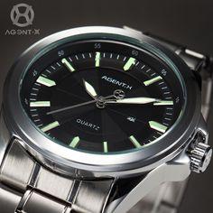 Agentx Fashion Men'S Stainless Steel Strap Date Display Quartz Sport Wrist Watch