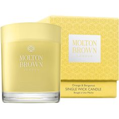 Molton Brown Single Wick Candle, Orange & Bergamot 17.6 oz (520 ml) featuring polyvore, home, home decor, candles & candleholders, molton brown candle, orange home accessories, heart shaped candles, wick candles and molton brown