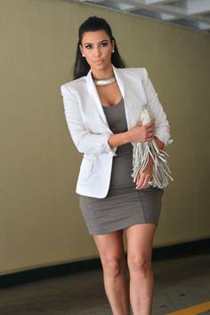 white blazer + statement necklace + grey dress