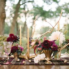 Lauren from @iloveloveevents is gracing us with her stylish-DIY powers today in discussing how to recreate this gorgeous tablescape for your special fall event!  Image: @ashleybosnick / Styling: @nyeventschicago / Florals: @fieldandflorist / Tabletop Rentals: @nimblewell  #fallwedding #fallweddingideas #gold #marsala #woodlandwedding #diywedding #weddinginspiration #stealthisstyle