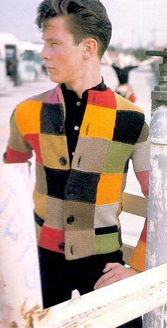 RUDI GERNREICH Mod 1963 men's patchwork sweater in wool knit. From The Rudi Gernreich Book.  (please follow minkshmink on pinterest) #menssweater #sixties #patchwork #mod #rudigernreich