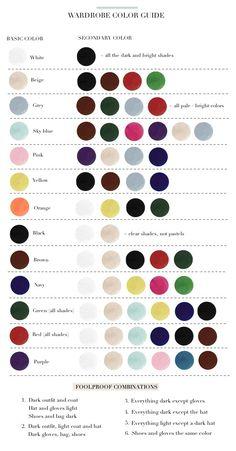 Clothes Colour Match Chart