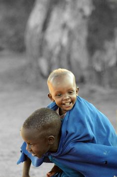 Africa | 2 Masai children playing, Kenya |  © Tenbult on Deviant Art