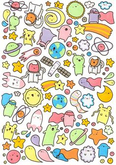Doodles art drawings ใ น ป 2019 space doodles kawaii doodles แ ล ะ iphone w Space Drawings, Doodle Drawings, Easy Drawings, Doodle Art, Doodle Kids, Doodles Kawaii, Cute Kawaii Drawings, Kawaii Art, Stickers Kawaii