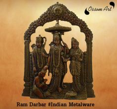 This is a hand carved precious metal statute of Ram with his wife, brother and Hanuman. This antic ram darbar statue describes the creativity and fine art work of the artist the small designs and gracious looks attracts every one's eyes towards it. The meal art on spiritual product is in high demand in Hindu culture. The beautiful hand craving pleases the heart of every devotee. The unique shape of it gives the filling of temple where the mind finds peace and gets connected to mighty god.