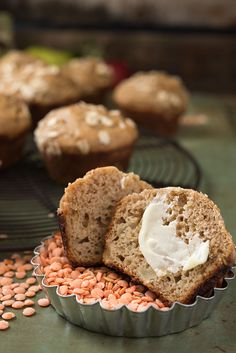 Healthy Apple Lentil Muffins | These muffins are perfect for toddlers and kids and are packed with secret nutrition from lentils, yogurt, apples, and whole wheat flour. They are easy to make-ahead and freeze, too. Click through for the recipe!!
