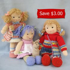 Lucy Lavender, Tilly, and Lulu doll knitting patterns - INSTANT DOWNLOAD