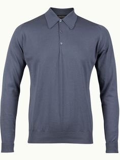 John Smedley Finchley Long Sleeve Polo Shirt - Vintage Denim - Available to buy at http://www.afarleycountryattire.co.uk/product-tag/john-smedley-finchley-long-sleeve-polo-shirt/ #johnsmedley #mensfashion #poloshirt #afarleycountryattire
