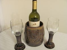 Wine chiller and wine glasses