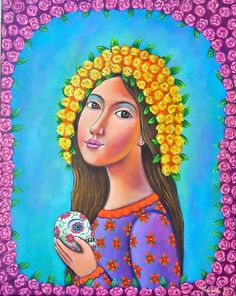 Mexican Painting German Rubio Folk Art day of the dead celebration